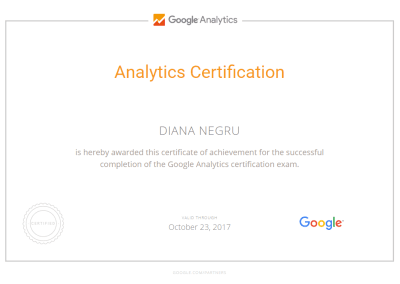 Analytics Certification - Diana Negru