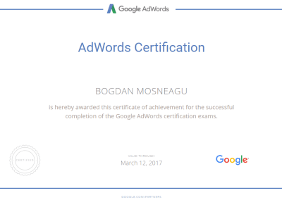 Certification Bogdan Mosneagu
